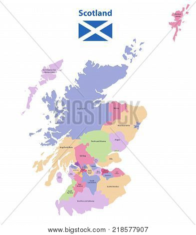 vector map of Scotland unitary authorities isolated in white