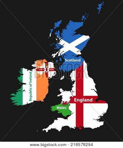 countries of British Isles: United Kingdom(England, Scotland, Wales, Northern Ireland) and Republic of Ireland map combined with flags