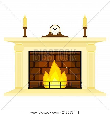 Vector illustration of fireplace isolated on white background, with candles and mantle clock. Burning fire in flat style.