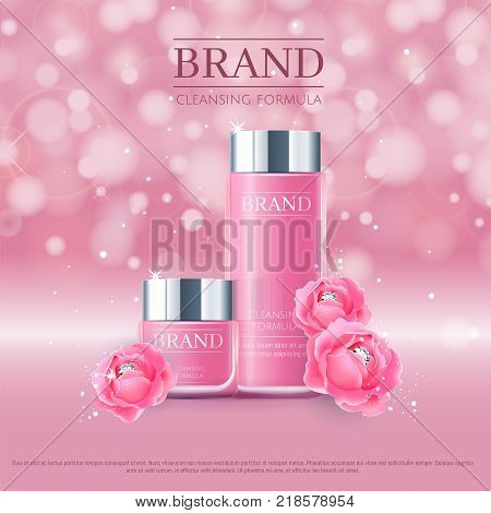 Pink background with realistic 3D vector moisturizing cosmetic cleansing premium products. Aqua Premium VIP cosmetic ads, hydrating Rose Packaging Cream and Body Lotion with blue roses and diamonds