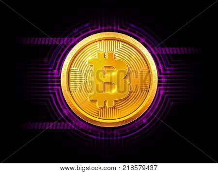 Abstract technology HUD bitcoin symbol. Golden bitcoin coin on dark background. Virtual money Digital currency. Vector stock illustration. EPS 10