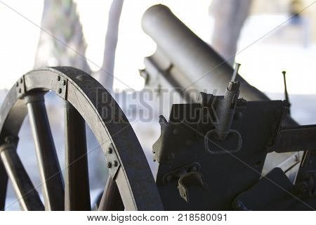 Ancient cannons of defense weapons in the old fortress the island of Cyprus