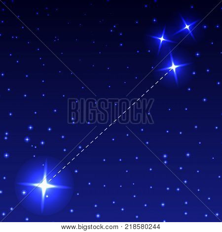 The Constellation Small Dog in the night starry sky. Vector illustration of the concept of astronomy