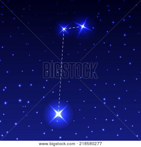 The Constellation Of The Small Horse in the night starry sky. Vector illustration of the concept of astronomy