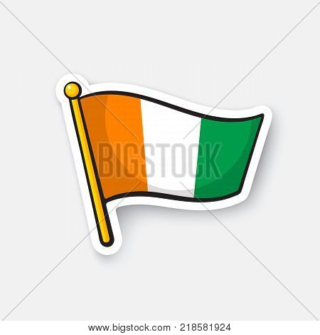 Vector illustration. Flag of Ivory Coast. Countries in Africa. Location symbol for travelers. Isolated on white background. Cartoon sticker with contour. Decoration for greeting cards, patches, prints