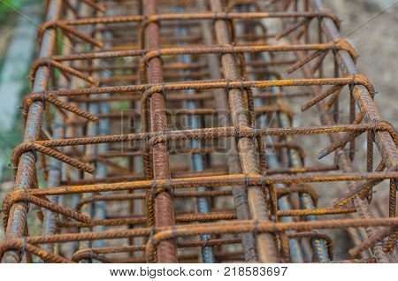 Steel Rebars for reinforced concrete. Rebars on construction site.