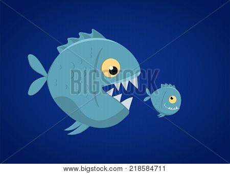 Big fish eat small fish. Vector Illustration