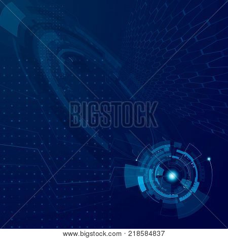 Abstract hud future technology design. Futuristic cyberspace tech development concept. Sci fi interface system. Vector illustration digital blue background