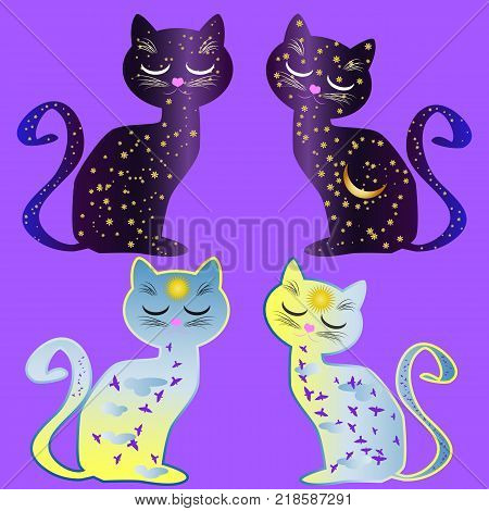 A set of four cats, two cat-day and two cat-night. Cat silhouette painted with day sky, with clouds, sun, birds and cat silhouette painted with night sky with stars, moon