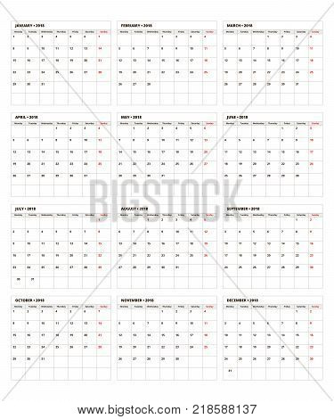 Calendar Planner 2018. Calendar grid with place for notes, 2018 calendar template.