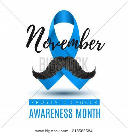 Vector Stock Template, Prostate Cancer Blue Awareness Ribbon with Mustache. November month of struggle against prostate cancer.
