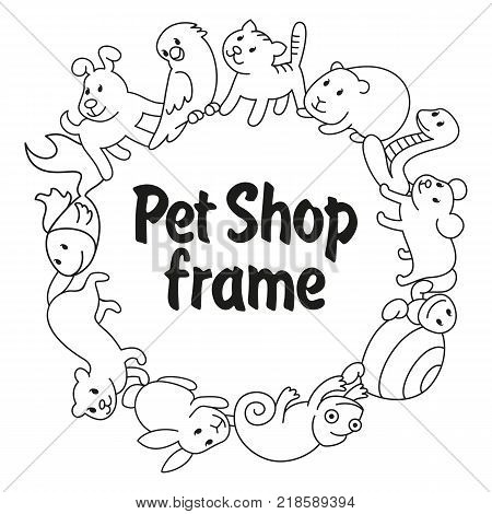 Round frame Pet shop types of pets cartoon illustrations animals in line style. Logo pictogram infographic elements