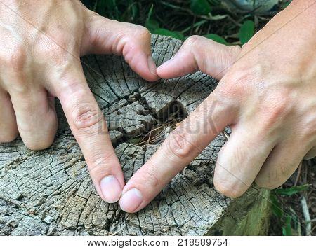 hand making Hearth symbol on tree stump