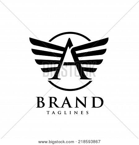 letters a with wings and circle logo vector, Creative Letter a with wings design element. letter a wings Corporate branding identity Vector template