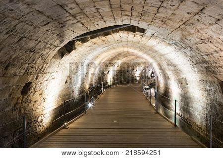 Acre Israel November 03 2017 : Underground tunnel built by the Knights Templar passing under the fortress in the old city of Acre in Israel