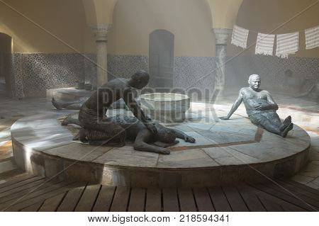 Acre Israel November 03 2017 : A sculptural exhibition showing the life of the late 19th century in the Turkish bath - Hammam El Basha in the old town of Acre in Israel
