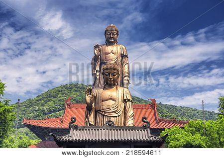 The double buddha statues of Lingshan Grand Buddha scenic area in Wuxi China Jiangsu province.