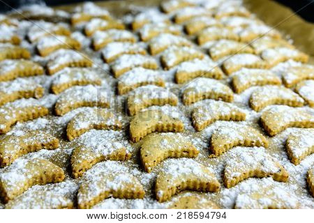 Baked Vanilla Half Moon Cookies On Baking Tray