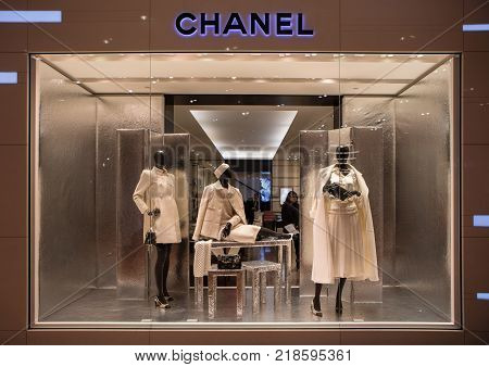 Paris France - October 30 2017: Chanel shop in Paris Printemps shopping centre. Chanel is a fashion house founded in 1909 specialized in haute couture and luxury goods.