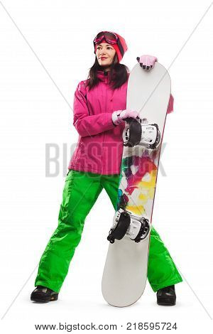 beautiful woman with snowboard in studio on isolated background.
