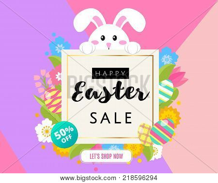 Happy Easter sale banner, poster, invitation, leaflet template design. Cute cartoon bunny rabbit with Easter eggs and flowers with frame for text in flat style. 50 off, greeting Easter card. Vector