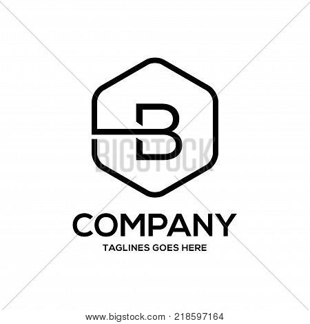 Clean luxury Letter B logo hexagon linear sign vintage design. letter B outlines with modern hexagon logo concept
