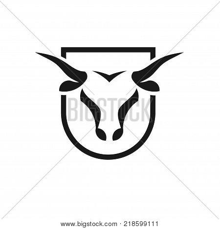 Bull head black shield vector logo concept illustration, Buffalo head logo, Bull head  black shield logo.  bull Animal logo sign