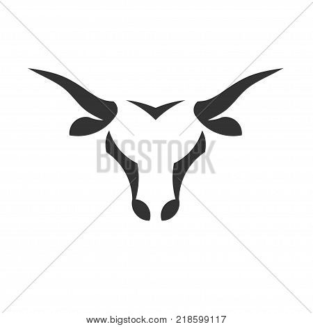 abstract simple Bull head vector logo concept illustration, Buffalo head logo, Bull head logo. bull Animal logo sign,