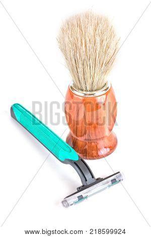 Shaving apparatus and the shaving brush for shaving isolated on white background
