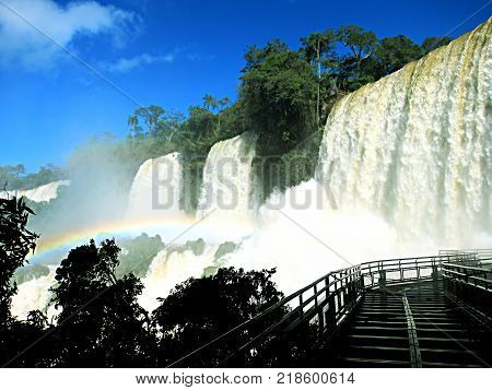 Waterfalls called Salto Las tres hermanas (the 3 sisters waterfalls) on Iguazu Park Argentina one of the new seven wonders of nature and a UNESCO World Heritage site