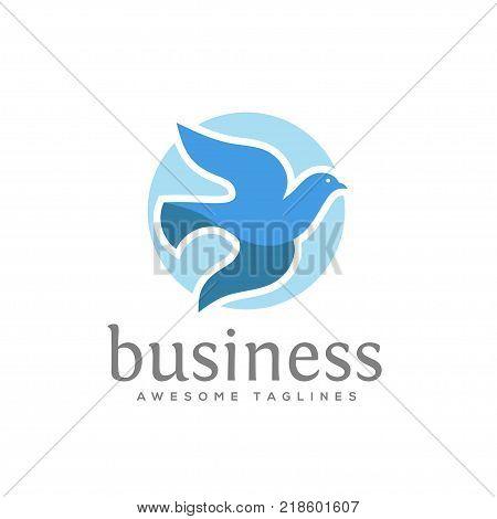 dove vector logo concept illustration, falcon Bird logo, animal rescue foundation , flying Dove logo. blue Bird icon, animal Bird sign,free Bird symbol, peace symbol Vector logo template, love and care symbol