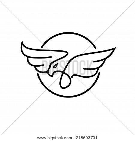 simple modern Eagle Logo design vector template Linear style. Bird Falcon Hawk Luxury Logotype concept icon Heraldic style.