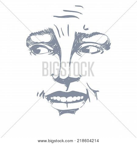 Monochrome vector hand-drawn image blameworthy young woman. Black and white illustration of regretful girl. Mask I feel sorry about it.