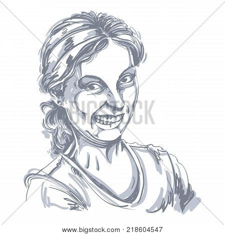Vector drawing of woman making a funny grimace. Black and white portrait of girl making a silly face.