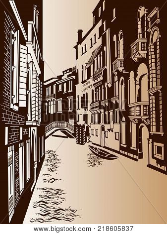 Italy, water channel with a bridge, a gondola and European houses. Vector illustration.