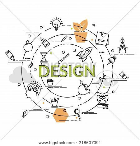 Flat colorful design concept of Design. Infographic idea of making creative products. Design art branding corporate identity stationary product design painting for website banner flyer and print.