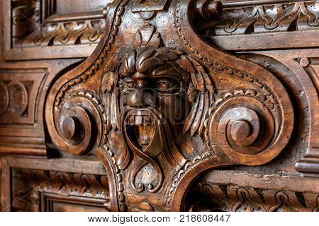 Venice, Italy - May 20, 2017: Interior of the Doge`s Palace (Palazzo Ducale) detail of the door. Doge`s Palace was built in 15th cent on St Mark`s Square and is one of the main tourist attractions of Venice.