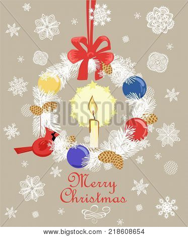 Retro Christmas greeting card with cut out paper fir wreath, gold fir tree cone, candle, snowflakes, hanging northern cardinal bird toy and ball. Flat design
