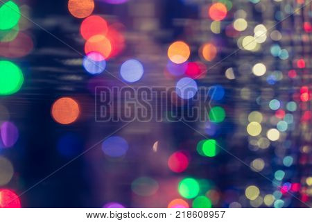 Bokeh blur colorful lights out of focus with copy space