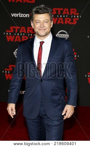 Andy Serkis at the World premiere of 'Star Wars: The Last Jedi' held at the Shrine Auditorium in Los Angeles, USA on December 9, 2017.