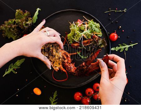 culinary recipe of stuffed lobster dish. kitchen art. talented cook. restaurant food.