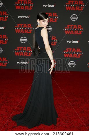 Sofia Carson at the World premiere of 'Star Wars: The Last Jedi' held at the Shrine Auditorium in Los Angeles, USA on December 9, 2017.