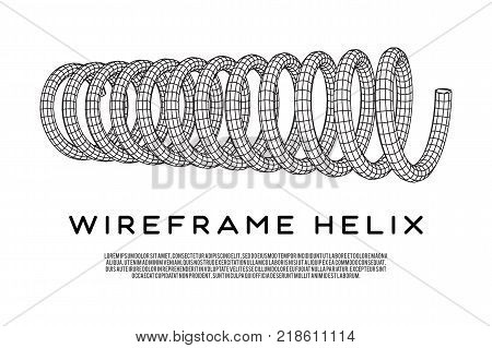 Wireframe low poly mesh tension helix spring. Vector illustration