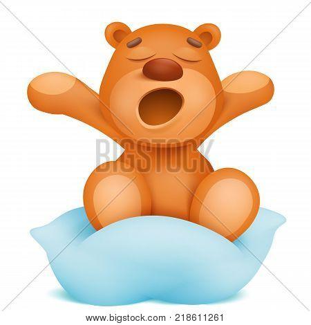 Yawning teddy bear cartoon character sitting on pillow. Vector illustration. Good morning card.