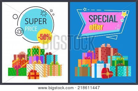 Super price special offer set of two posters with discount adverts in geometric patterns. Vector illustration decorated with colorful presents