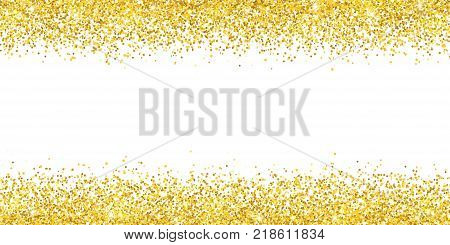 Gold glitter wide border backround. Vector illustration