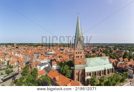 Aerial view of Hanseatic city of Luneburg, Germany