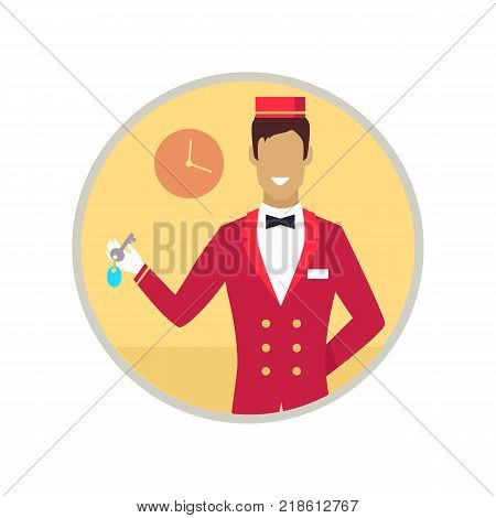 Hotel receptionist with key for room in the building, smiling to client, icon of clock vector illustration isolated on white background