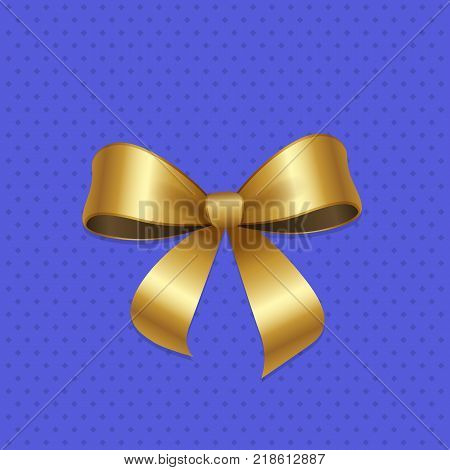 Present or gift elegant tied satin ribbon of gold in shape of bow. Gold decorative knot vector illustration isolated on blue background with dots