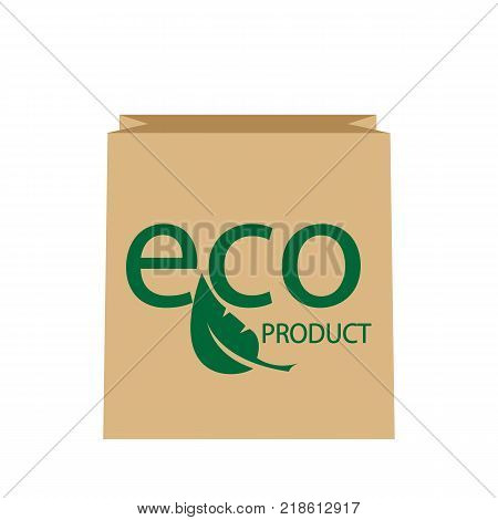 Blank Paper Bag Eco Sale Isolated on White Background. Paper Bag with leaf. Ecological clean product. Vector illustration